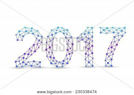 Text Design Christmas And Happy New Year 2017. Graphic Background Molecule And Communication. Connec