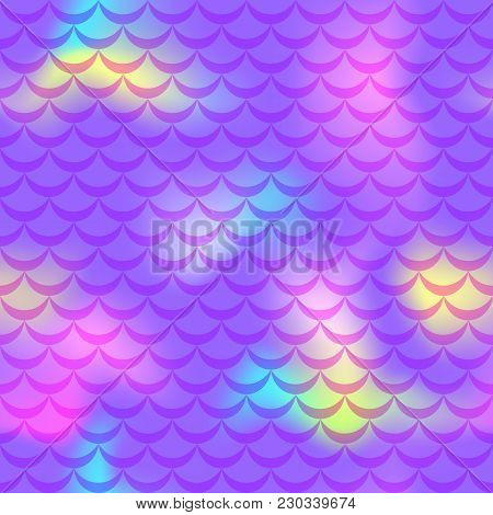 Violet Pink Yellow Mermaid Scale Vector Background. Neon Iridescent Background. Fish Scale Pattern.