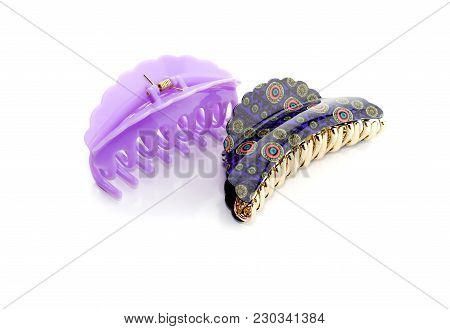 Two Different, Beautiful, Female Barrette For Hair Close-up On A White Background