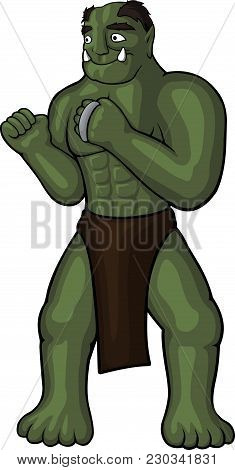 Cartoon Strong Orc Monk With Knuckles On White Background
