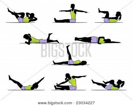 Pilates exercise poses - workout silhouette