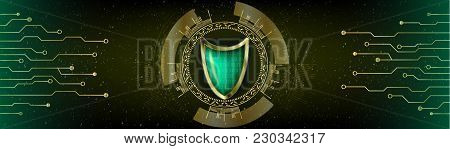 Cyber Security Antivirus Concept With Golden Green Shield, Futuristic Lines And Numbers. Hud Head Up