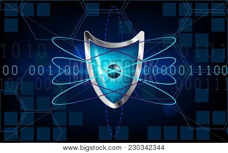 Cyber Security Antivirus Concept With Blue Shield, Futuristic Lines, Atom, Cubes, Electrons And Numb