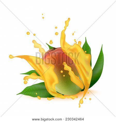 Juice Splash Of Mango, Orange, Peach With Leaves Isolated On White Background.  Vector.