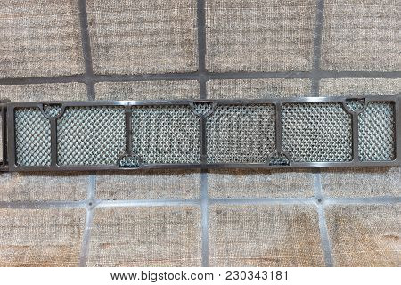 Close Up Of Dirty Dust On Air Conditioner Filter