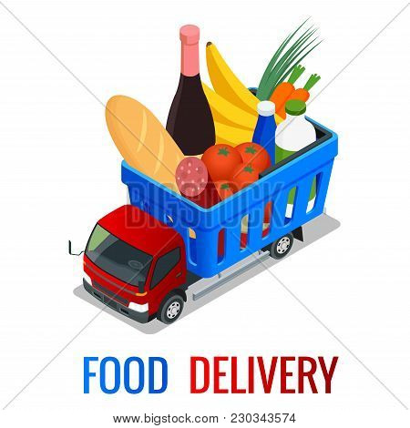 Delivery Of Fresh Organic Vegetables In Wooden Box. Isometric Delivery Truck, Food Delivery Concept.