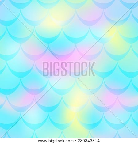Turquoise Pink Mermaid Vector Background. Pastel Iridescent Background. Fish Scale Pattern. Mermaid