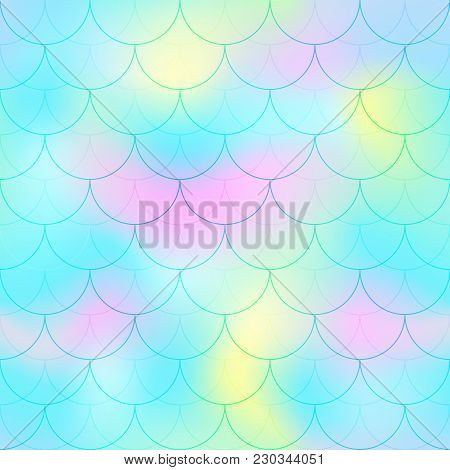 Turquoise Mermaid Scale Vector Background. Pastel Color Iridescent Background. Fish Scale Pattern. S