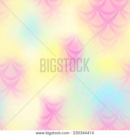 Pale Yellow Mermaid Vector Background. Girlish Iridescent Background. Fish Scale Pattern. Mermaid Se