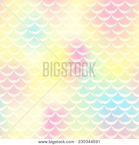 Yellow Pink Mermaid Vector Background. Pastel Iridescent Background. Fish Scale Pattern. Mermaid Sea