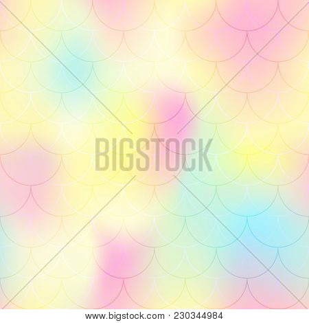 Yellow Pink Mermaid Scale Vector Background. Candy Color Iridescent Background. Fish Scale Pattern.