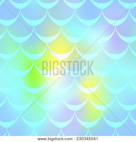 Mint Yellow Mermaid Vector Background. Pastel Iridescent Background. Fish Scale Pattern. Mermaid Sea
