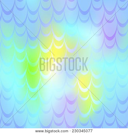 Blue Yellow Mermaid Skin Vector Background. Pastel Iridescent Background. Fish Scale Pattern. Seamle