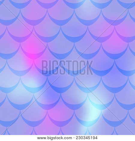 Violet Pink Mermaid Vector Background. Cold Gamma Iridescent Background. Fish Scale Pattern. Mermaid