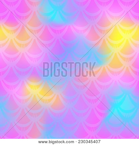 Pink Yellow Mermaid Skin Vector Background. Feminine Iridescent Background. Fish Scale Pattern. Seam