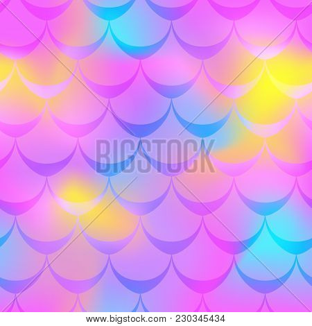 Neon Pink Mermaid Vector Background. Multicolored Iridescent Background. Fish Scale Pattern. Seamles