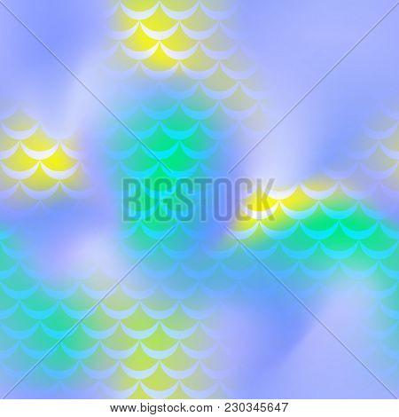 Blue Yellow Green Mermaid Vector Background. Shiny Iridescent Background. Fish Scale Pattern. Mermai