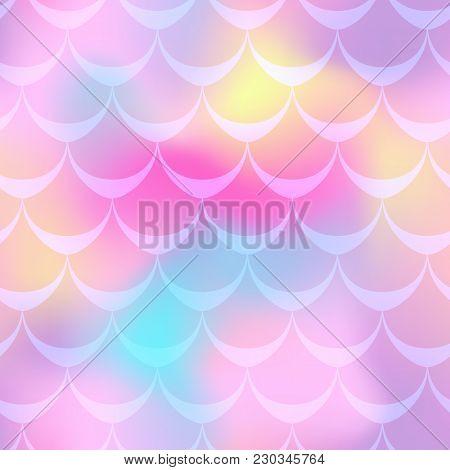 Pink Mermaid Vector Background. Girlish Pink Iridescent Background. Fish Scale Pattern. Mermaid Seam