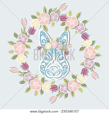 Bunny Head With Floral Wreath Isolated On Background. Rabbit Head As Baby Shower & Easter Logo, Pet