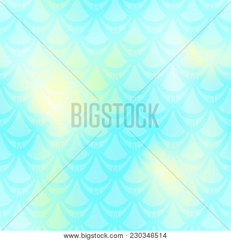 Turquoise Mermaid Vector Background. Cold Gamma Iridescent Background. Fish Scale Pattern. Mermaid S