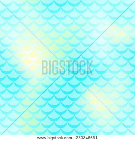 Mint Yellow Mermaid Vector Background. Fresh Mint Iridescent Background. Fish Scale Pattern. Mermaid
