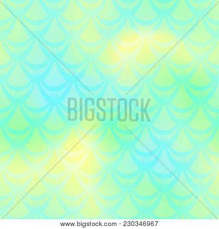 Lime Green Mermaid Vector Background. Fresh Spring Iridescent Background. Fish Scale Pattern. Mermai