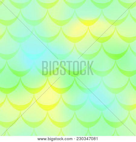 Yellow Green Mermaid Vector Background. Juicy Iridescent Background. Fish Scale Pattern. Mermaid Sea