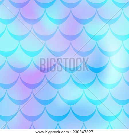 Mint Violet Mermaid Vector Background. Cold Gamma Iridescent Background. Fish Scale Pattern. Mermaid