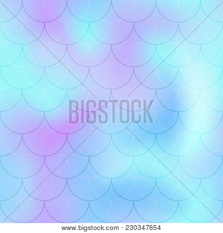 Violet Mint Mermaid Scale Vector Background. Pastel Iridescent Background. Fish Scale Pattern. Seaml