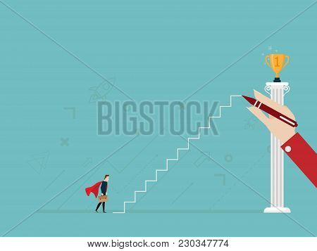Illustration Of Businessman With Hand Drawing Ladderr To Golden Trophy On Pillar Business Success Co