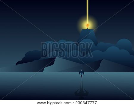 Illustration Of Businessman Standing And Looking For Golden Trophy On Top Of Mountain Business Conce