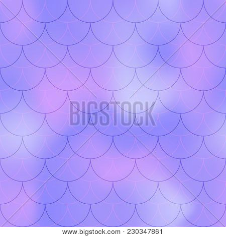 Violet Blue Mermaid Scale Vector Background. Pastel Iridescent Background. Fish Scale Pattern. Seaml