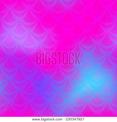 Vivid Pink Mermaid Vector Background. Feminine Iridescent Background. Fish Scale Pattern. Mermaid Se