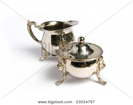 Silver Milk cup and sugar basin