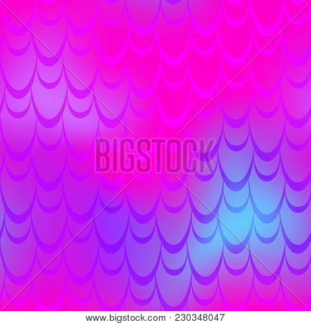 Vivid Pink Mermaid Vector Background. Vibrant Iridescent Background. Fish Scale Pattern. Mermaid Sea