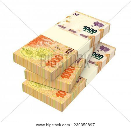 Argentina pesos bills isolated on white with clipping path. 3D illustration.