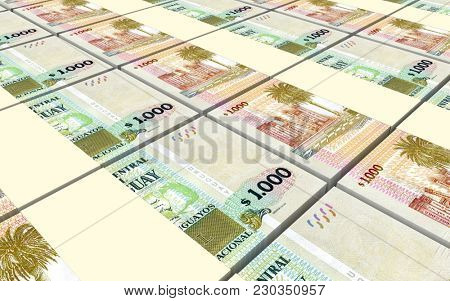 Uruguay peso bills stacks background. 3D illustration.