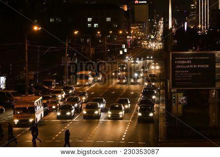 KYIV, UKRAINE - FEBRUARY 01, 2018: Traffic during rush hour in evening