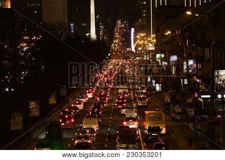 KYIV, UKRAINE - FEBRUARY 01, 2018: Traffic jam during rush hour in evening