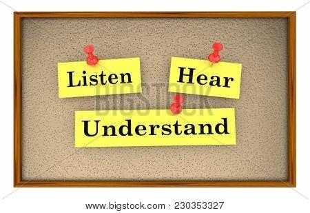 Listen Hear Understand Words Notes Bulletin Board 3d Illustration