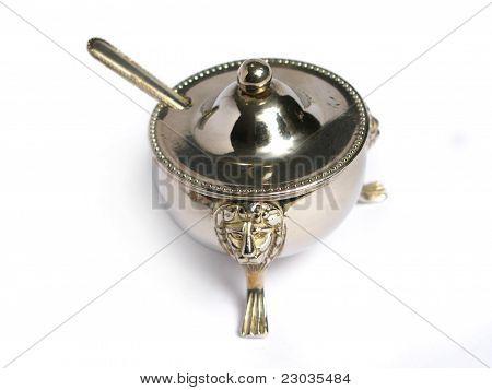 Chromed sugar basin and tea spoon