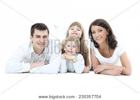Portrait of a happy four-member family.