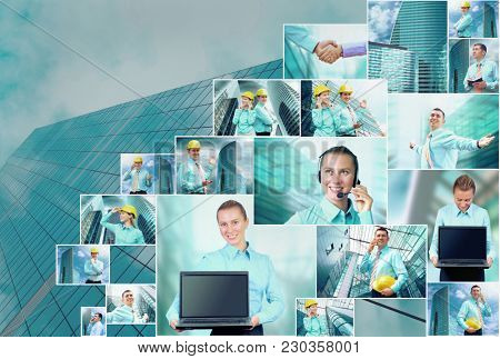 Collage of many business images with young business woman and man on the skyscraper background
