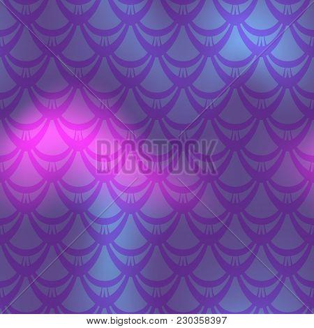 Dark Violet Mermaid Vector Background. Cold Gamma Iridescent Background. Fish Scale Pattern. Mermaid