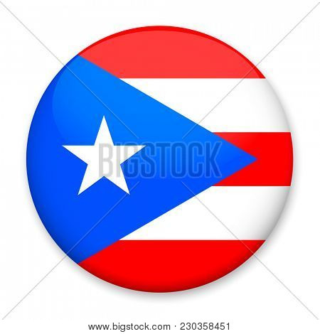 Flag of Puerto Rico  in the form of a round button with a light glare and a shadow.