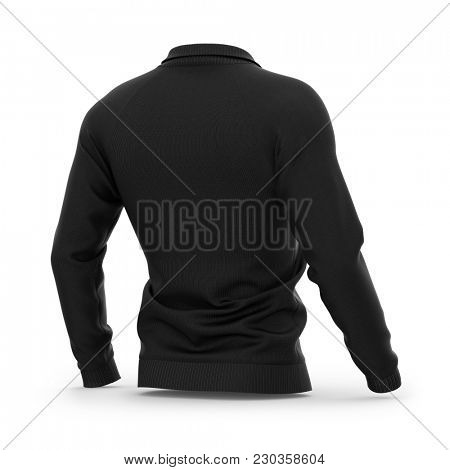 Men's black zip neck pullover with raglan sleeves, rubber cuffs and collar. 3d rendering. Clipping paths included: whole object, collar, sleeve, zipper. Half-back view. poster