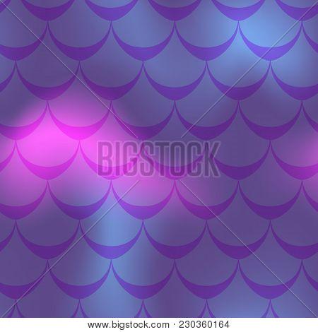 Purple Pink Mermaid Vector Background. Mermaid Seamless Pattern Tile. Holographic Gradient. Fish Sca