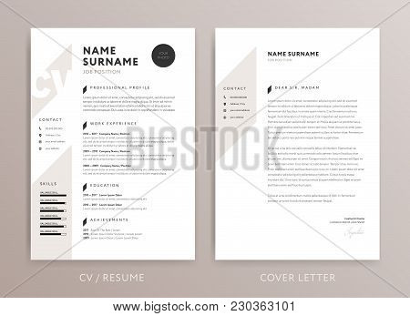 Stylish Cv Design - Curriculum Vitae Cover Letter Template - Rose Brown Color Background - Vector