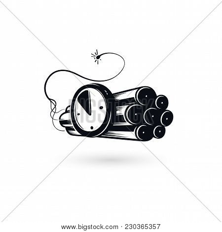 Deadline Concept Logo, Dynamite Icon Emblem With Watch Timer And Burning Fuse, Large Explosive Charg