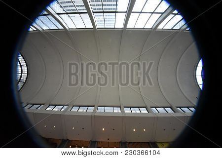 Willis Tower (formerly Sears Tower) Curved Arched White Ceiling Interior Of Wacker Atrium Entrance,